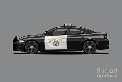 Digital Art - California Highway Patrol D0dge Ch4rger Police Car by Monkey Crisis On Mars