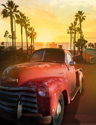 Lucille Ball Royalty Free Images - California Sunset With Chevy Pickup Royalty-Free Image by Larry Butterworth
