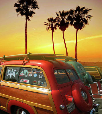 Lucille Ball Royalty Free Images - California Woodywagons, Palmtrees And Sunset Royalty-Free Image by Larry Butterworth