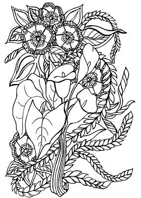Animals Drawings - Calla Lilies by Jennifer Wheatley Wolf