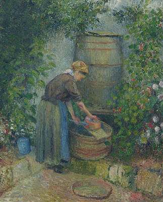 Lake Life - Camille Pissarro  Woman washing a pan by MotionAge Designs