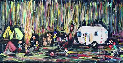 Sports Paintings - Camping Fun rv camper by Patty Donoghue