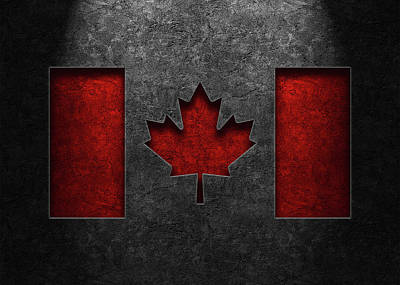 Rights Managed Images - Canadian Flag Stone Texture Repost Royalty-Free Image by Brian Carson
