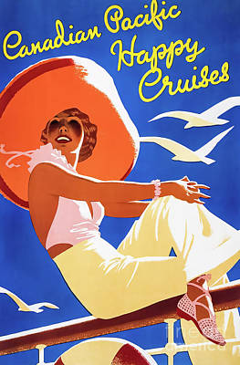 Drawings Royalty Free Images - Canadian Pacific Cruise Poster 1937 Royalty-Free Image by Tom Purvis