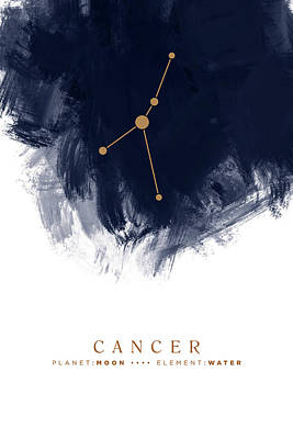 Popstar And Musician Paintings Royalty Free Images - Cancer Zodiac Sign - Minimal Print - Zodiac, Constellation, Astrology, Good Luck, Night Sky - Blue Royalty-Free Image by Studio Grafiikka