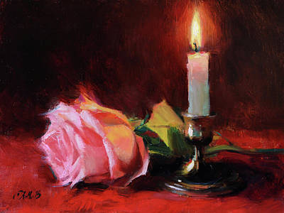 Painting - Candle and Pink Rose by Anna Bain
