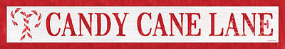 Sheep - Candy Cane Lane Sign 2 by Debbie DeWitt