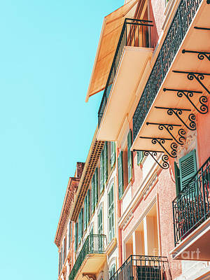 Royalty-Free and Rights-Managed Images - Cannes City Architecture, Summer Travel Retro Print, Historic Houses Downtown Old City Center by Radu Bercan