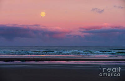 Royalty-Free and Rights-Managed Images - Cannon Beach Full Moonset Waves by Mike Reid
