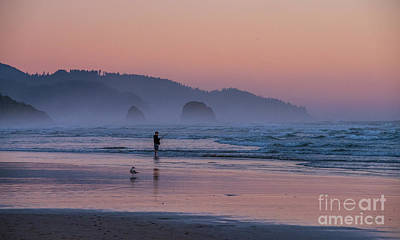 Royalty-Free and Rights-Managed Images - Cannon Beach Sunset Fisherman by Mike Reid