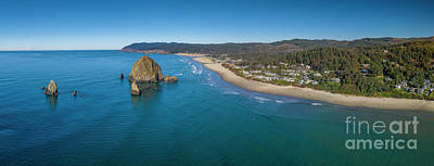 Royalty-Free and Rights-Managed Images - Canon Beach Haystack Rock Panorama by Dustin K Ryan