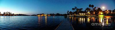 Digital Art - Canyon Lake Full Moon Sunset by Rhonda Strickland