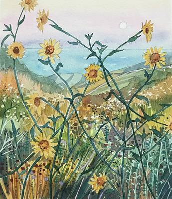Wild Horse Paintings - Canyon Sunflowers by Luisa Millicent