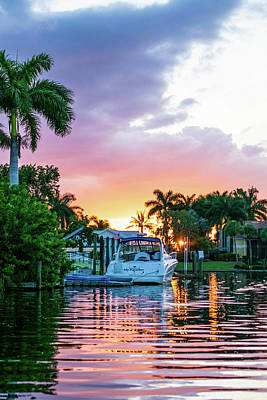 A White Christmas Cityscape - Cape Coral Sunset Vertical by Mary Ann Artz