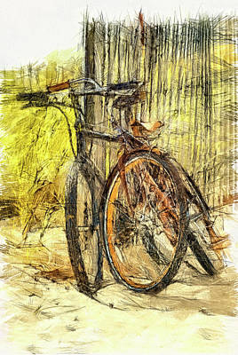 Studio Graphika Literature - Cape May bike on beach scenic  by Geraldine Scull