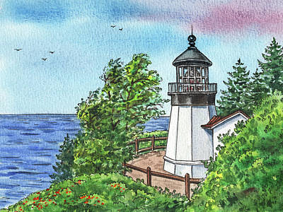 Royalty-Free and Rights-Managed Images - Cape Meares Lighthouse Oregon State Pacific Ocean Shore Watercolor  by Irina Sztukowski