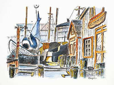 Drawing - Capt John's Boat Works NJ by Mike Bergen