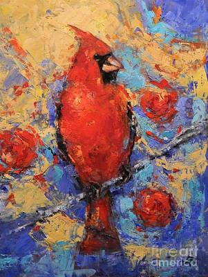 Animals Paintings - Cardinal in the Camillia by Dan Campbell