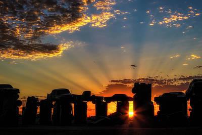 Photograph - Carhenge Warming Up by Steve Sullivan