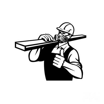 1920s Flapper Girl - Carpenter Wearing Wearing Mask Respirator Gas Vapor Cartridges Carrying Lumber With Thumbs Retro Style by Aloysius Patrimonio