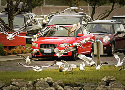 Comic Character Paintings - Cars and Gulls by Brian Tada