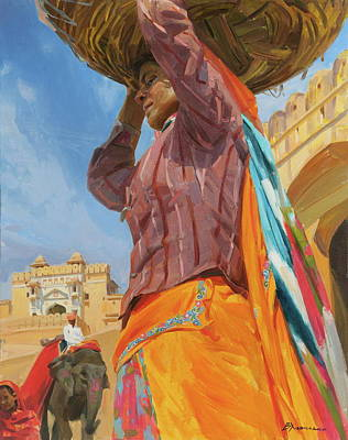 Painting - Caryatid Amber fort by Victoria Kharchenko