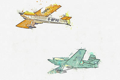 Vintage Movie Stars - Cassutt Racer IIIM G-BPVO  Levier Cosmic Wind G-ARUL Ballerina war planes in watercolor ca by Ahmet  by Celestial Images