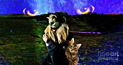 Mixed Media Royalty Free Images - Cat Goddess Royalty-Free Image by Laurie