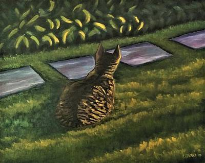 Animals Paintings - Cat In The Grass by Paul Jacks