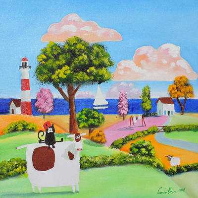 Painting - Cat On A Cow by Gordon Bruce