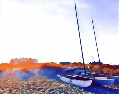 Surrealism Royalty-Free and Rights-Managed Images - Catamarans at Sunset by Surreal Jersey Shore