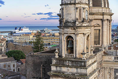 Photograph - Catania - Dome And The Sea by Giuseppe Lombardo
