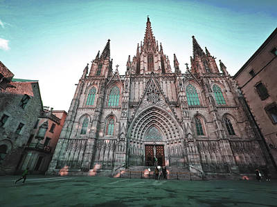 Surrealism Royalty-Free and Rights-Managed Images - Catedral, Barcelona, Spain - Surreal Art by Ahmet Asar by Celestial Images