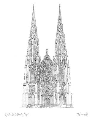 Drawing - Cathedral of St. Patrick by Peter Farago