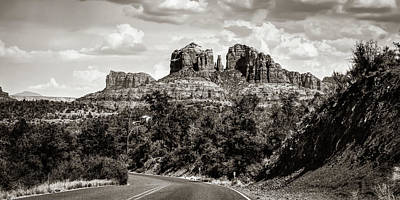Landscapes Royalty-Free and Rights-Managed Images - Cathedral Rock At Red Rock Crossing Panoramic Sepia Landscape - Sedona Arizona by Gregory Ballos