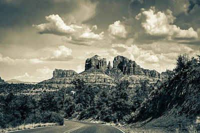 Landscapes Royalty-Free and Rights-Managed Images - Cathedral Rock At Red Rock Crossing Sepia Landscape - Sedona Arizona by Gregory Ballos