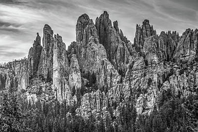 School Teaching - Cathedral Spires Along The Black Hills Needles Highway - Black and White by Gregory Ballos