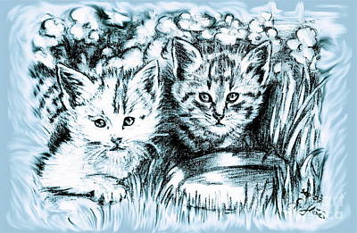 Whimsical Flowers - Cats Babies by Gitta Glaeser