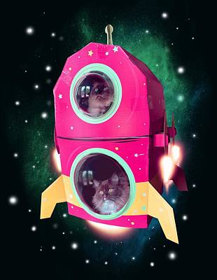 Drawings - Cats In Space by Ludwig Van Bacon
