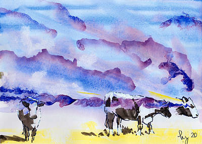 Surrealism Royalty-Free and Rights-Managed Images - Cattle and purple clouds surreal painting by Mike Jory