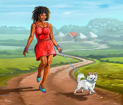 Sara Habecker Folk Print - Catwalking the Dog by Anthony Mwangi