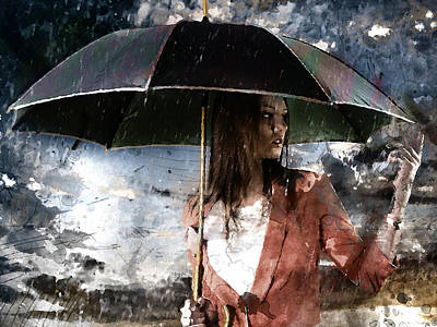 Mixed Media Royalty Free Images - Caught In The Rain Royalty-Free Image by Marvin Blaine