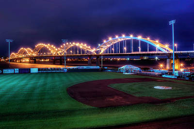 Photo Royalty Free Images - Centennial Bridge and Modern Woodmen Park Royalty-Free Image by Scott Norris