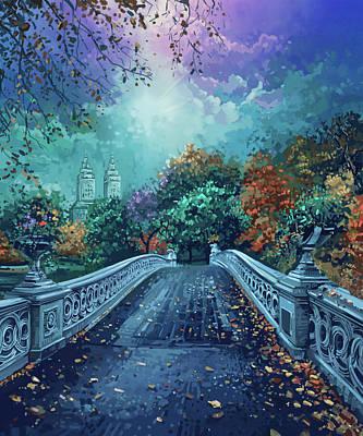 Surrealism Digital Art - Central Park Bow Bridge by Bekim M