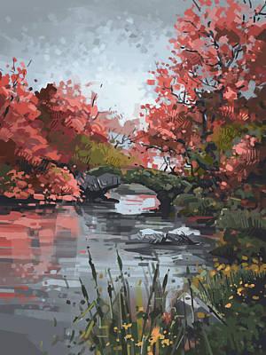 Surrealism Digital Art - Central Park Gapstow Bridge Autumn by Bekim M