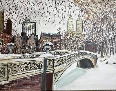 Painting - Central Park snow by Laurie Rosenbaum
