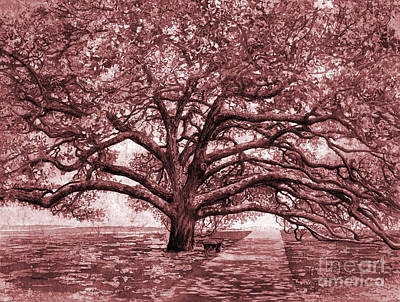 Popstar And Musician Paintings Royalty Free Images - Century Tree in maroon Royalty-Free Image by Hailey E Herrera