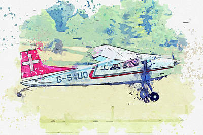 Vintage Movie Stars - Cessna AF Skywagon G-SAUO war planes in watercolor ca  by Ahmet Asar  by Celestial Images