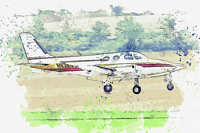 Vintage Movie Stars - Cessna NEN This twin-engine war planes in watercolor ca by Ahmet Asar  by Celestial Images