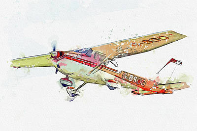 Vintage Movie Stars - Cessna Skyhawk G-BSOG war planes in watercolor ca  by Ahmet Asar  by Celestial Images